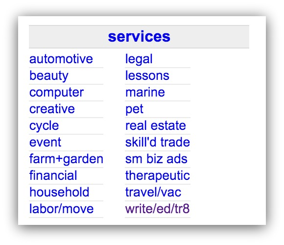 Screenshot showing parts of Craigslist