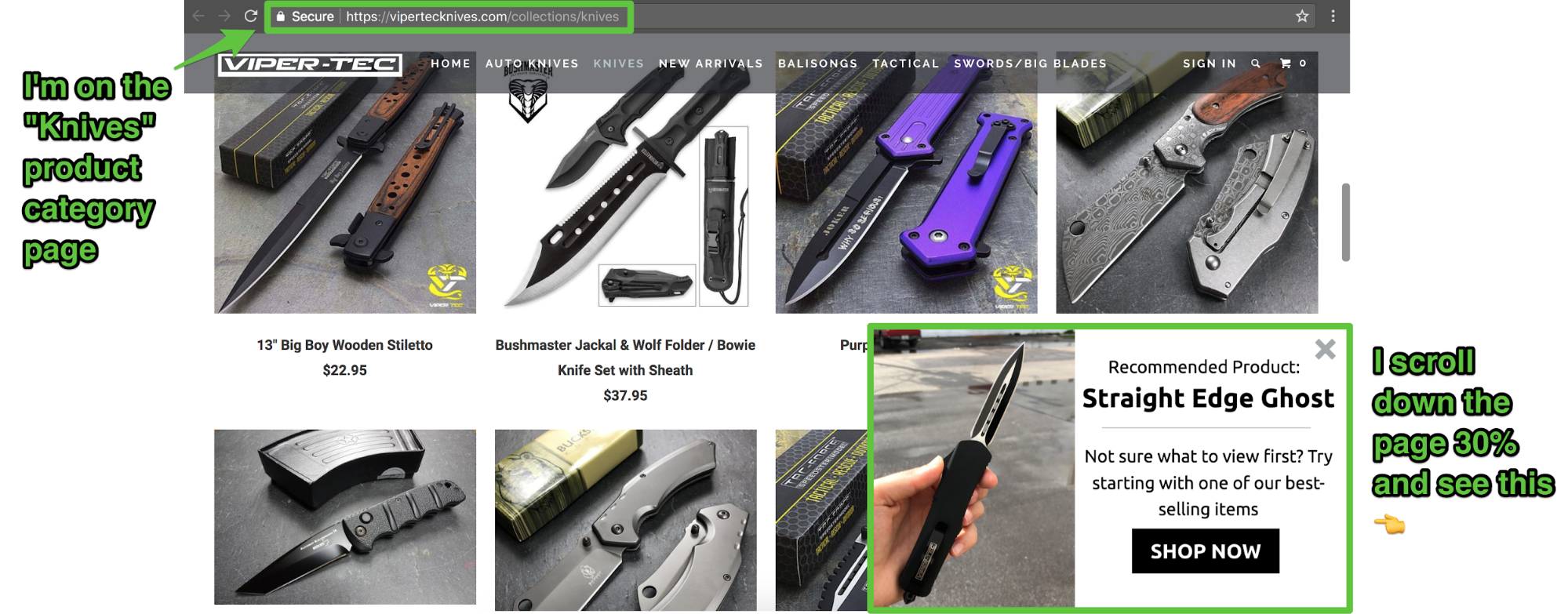 Screenshot showing different knives on sale