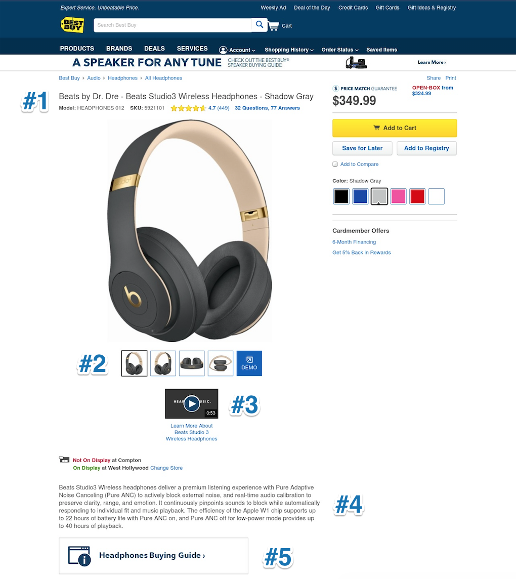Screenshot showing a product page on best buy