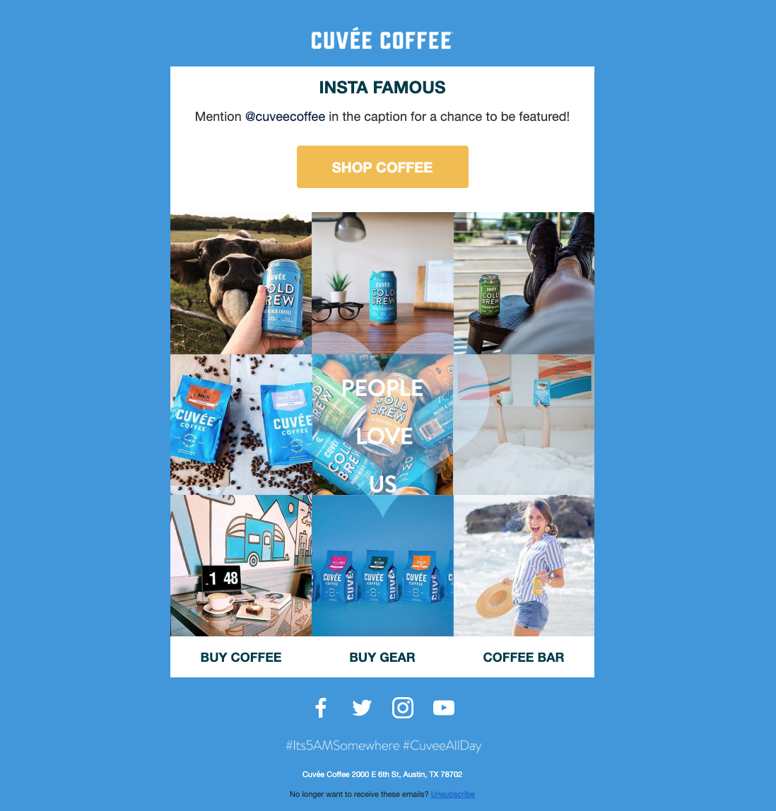 Screenshot of an automated email sharing the coffee experience after purchase