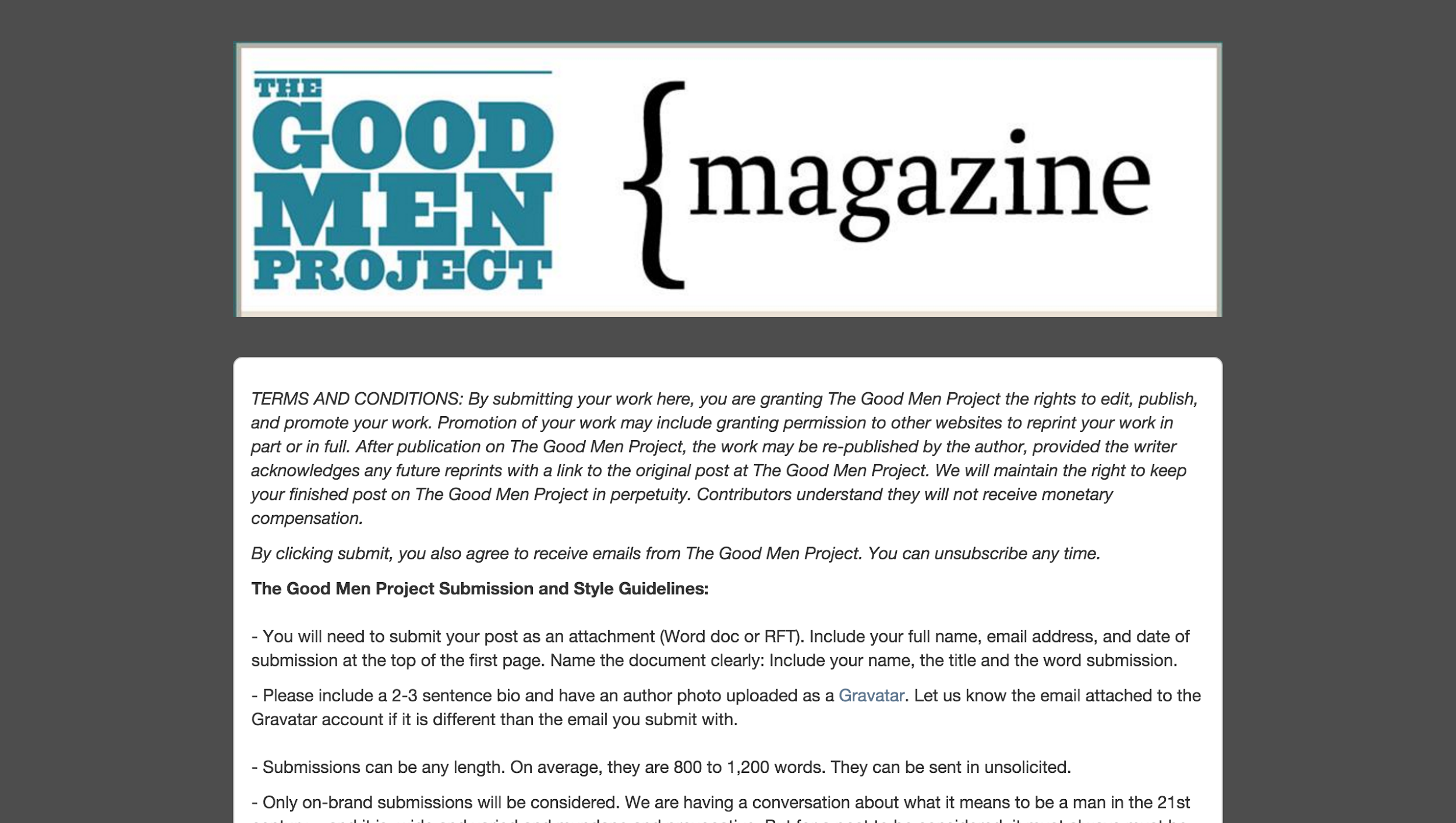 Screenshot of the guidelines for republishing on the good men project magazine
