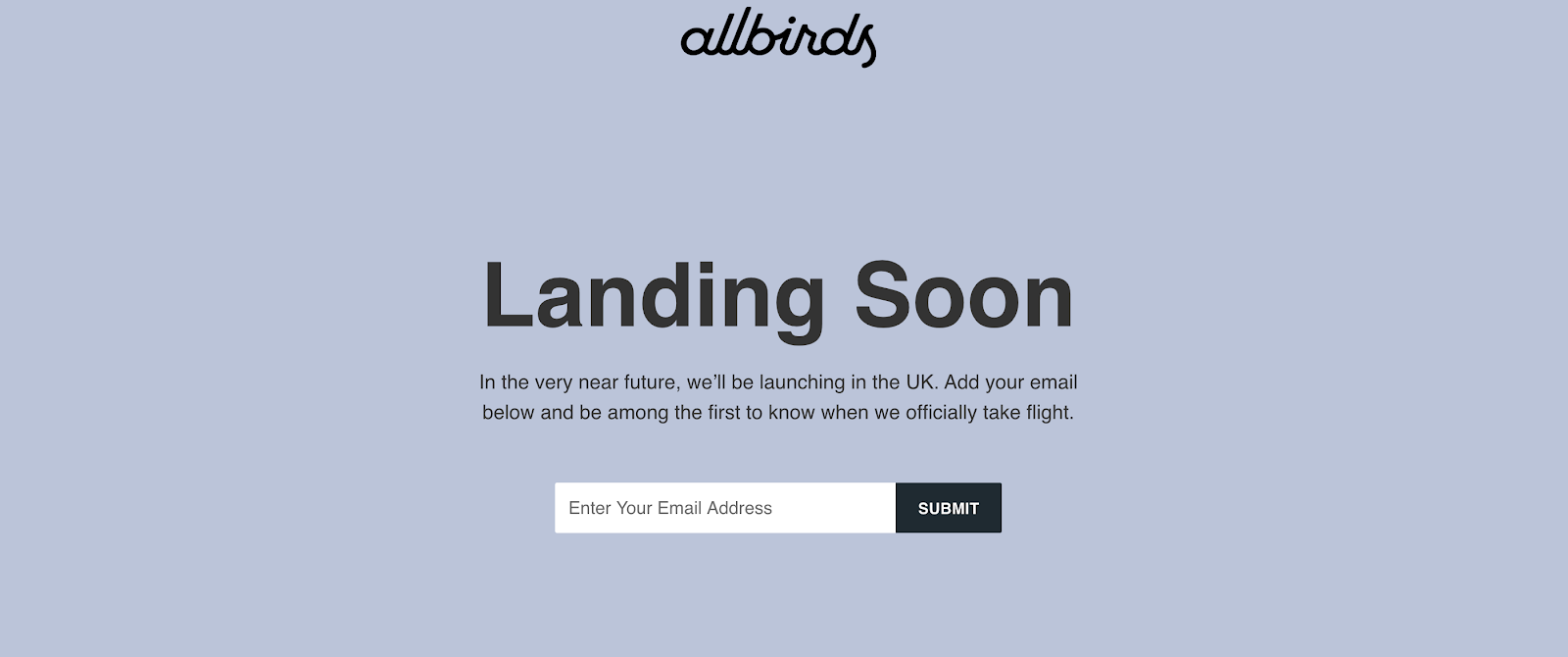Coming Soon Page: Screenshot of Allbirds (UK) coming soon page