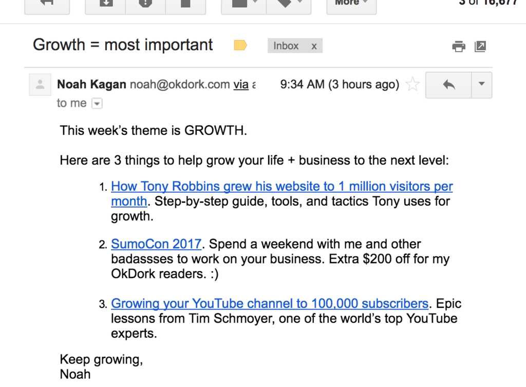 Screenshot showing an email sent by Noah Kagan