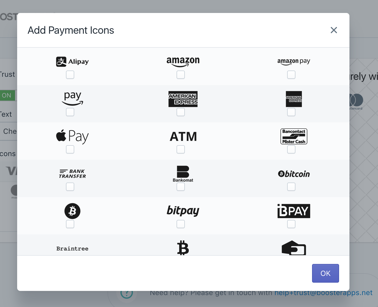 Screenshot showing the different payment icons you can add to your Shopify store