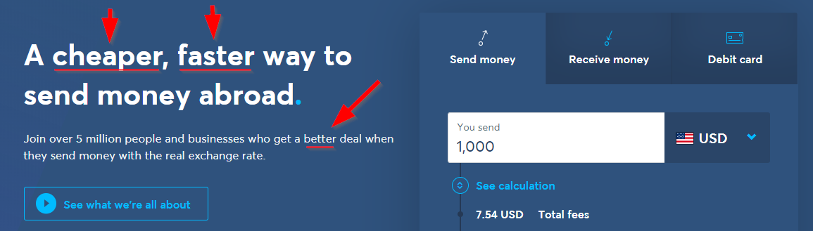 Screenshot of Transferwise