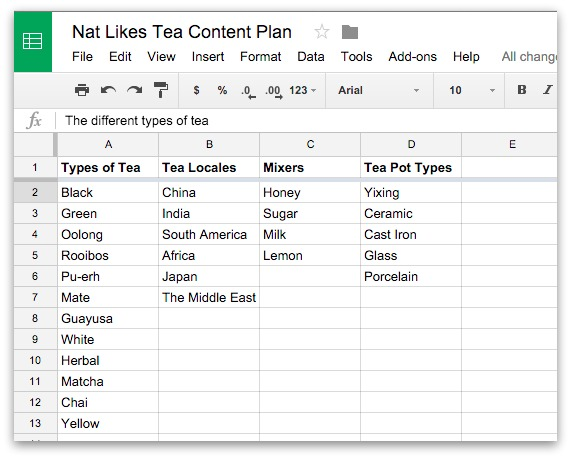 Screenshot showing different content categories in a google spreadsheet