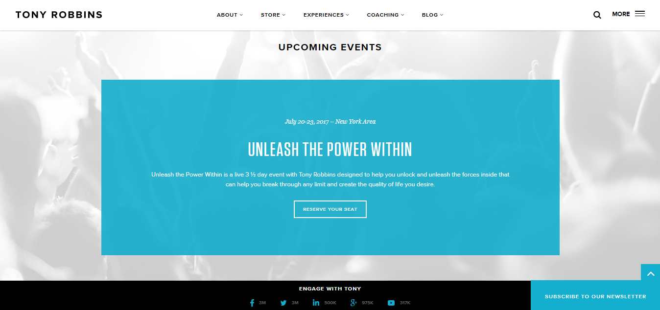 Screenshot of the events page on Tony Robbins