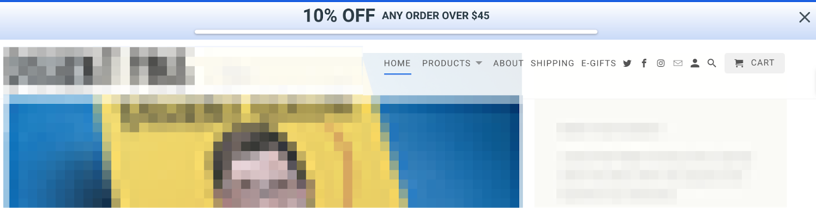 Screenshot showing a cyber monday deal being promoted with the sumo smart bar