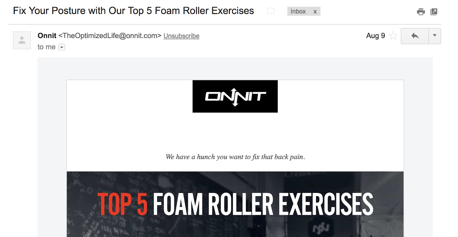 Best Email Subject Lines: Screenshot of email from Onnit