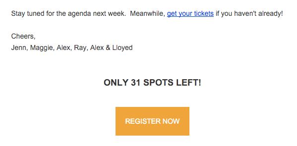 Screenshot showing an urgency CTA in an email