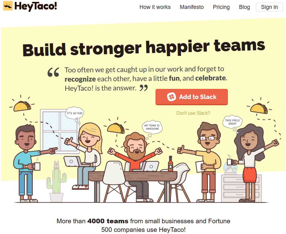 Screenshot of HeyTaco! website