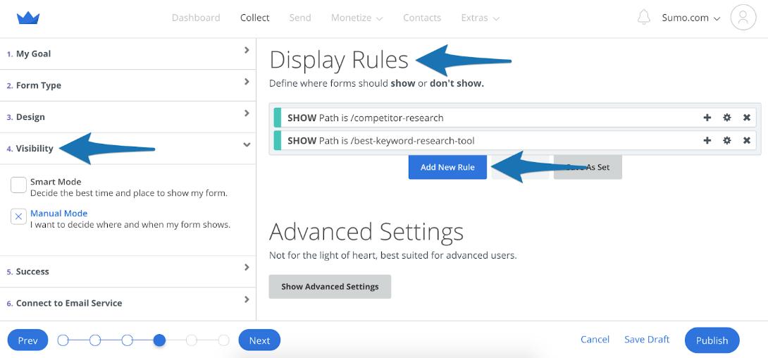 Screenshot showing Sumo form settings