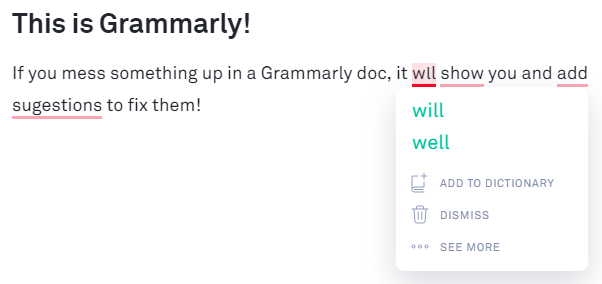 Screenshot showing how to use Grammarly