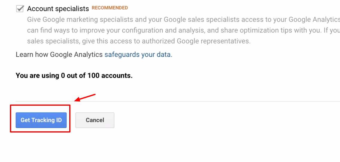 Screenshot showing google analytics get tracking ID button