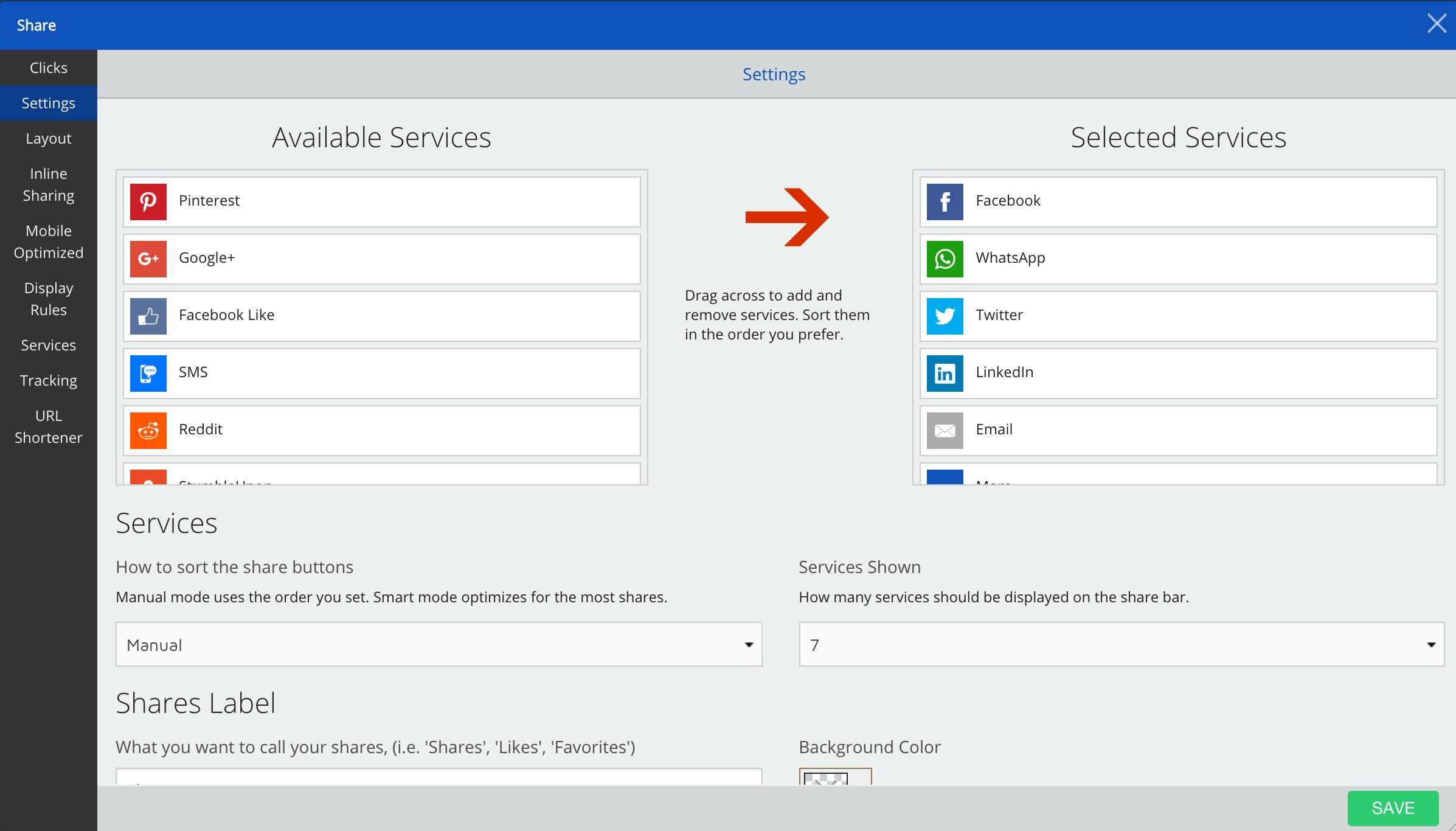 Screenshot of available and selected services on the Sumo dashboard