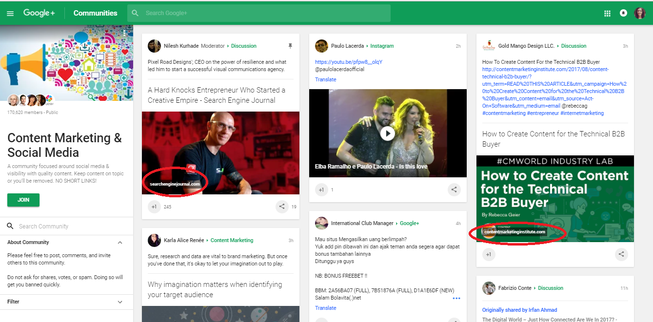 Screenshot showing a Google Sheets community