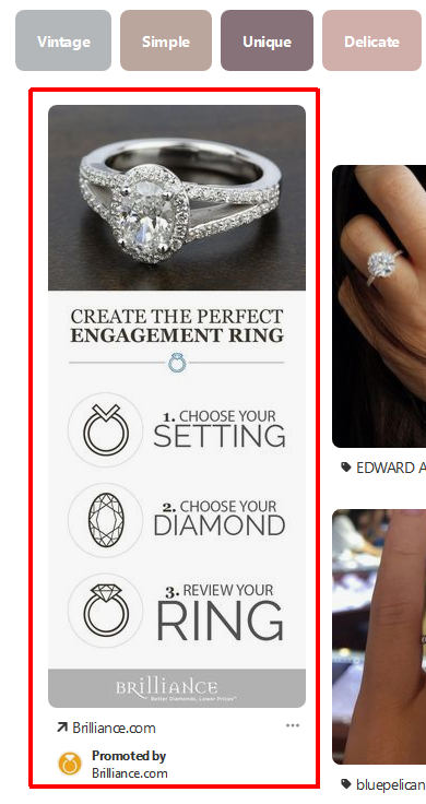 Screenshot showing jewelry product page