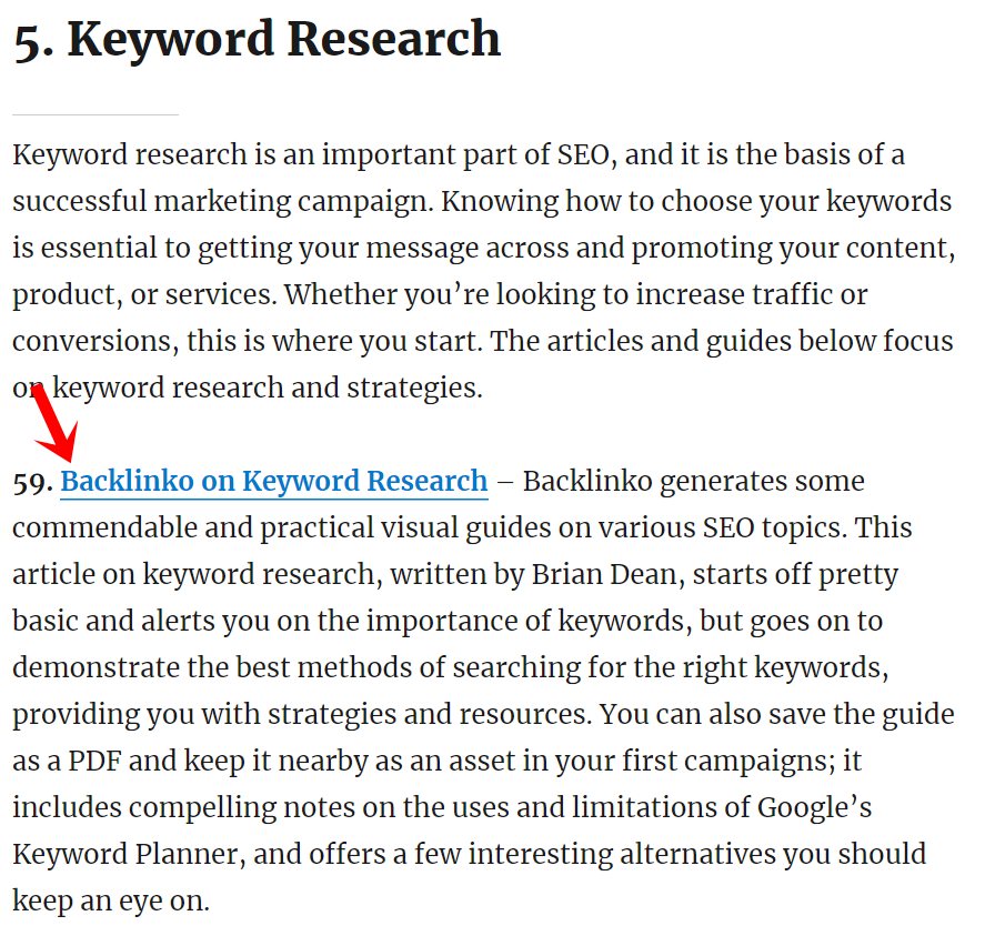 screenshot of Keyword research