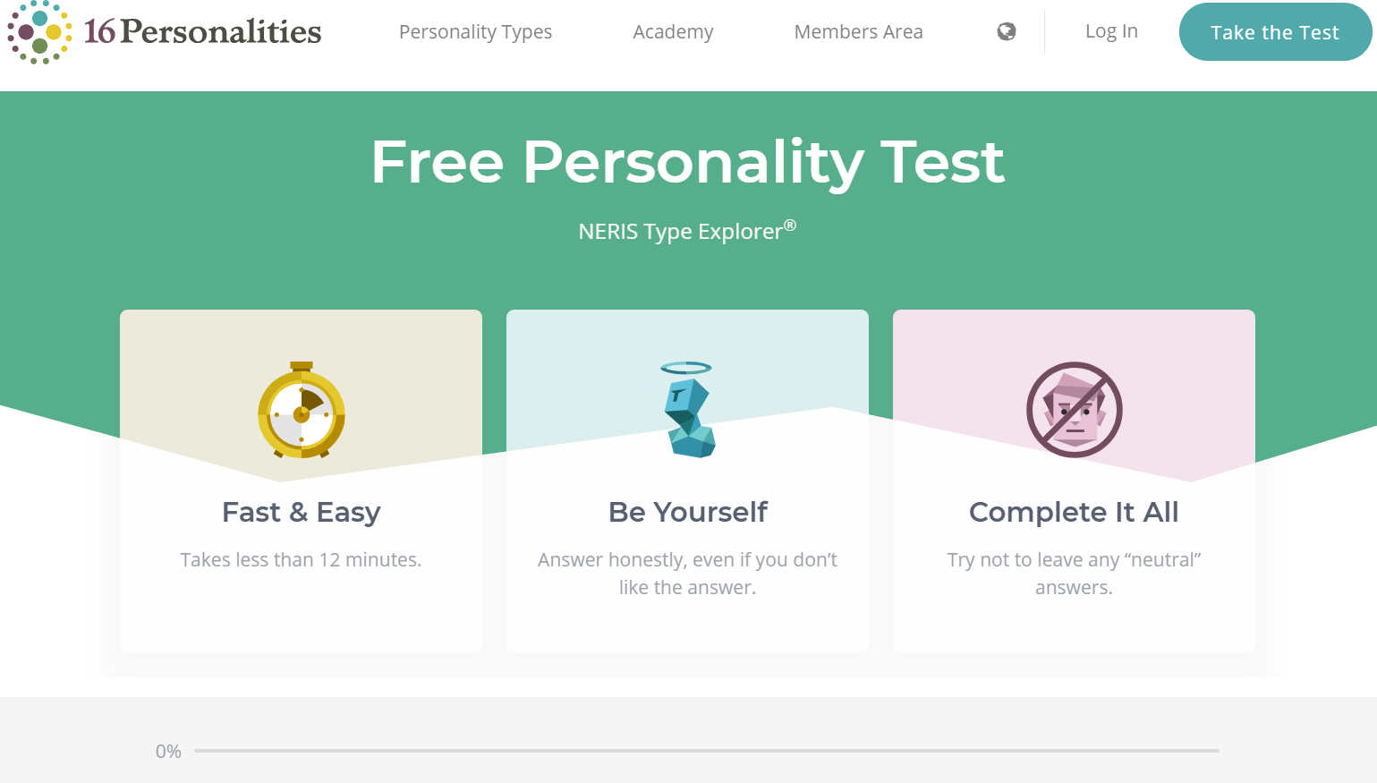 Screenshot of 16Personalities offering a personality test as a lead magnet