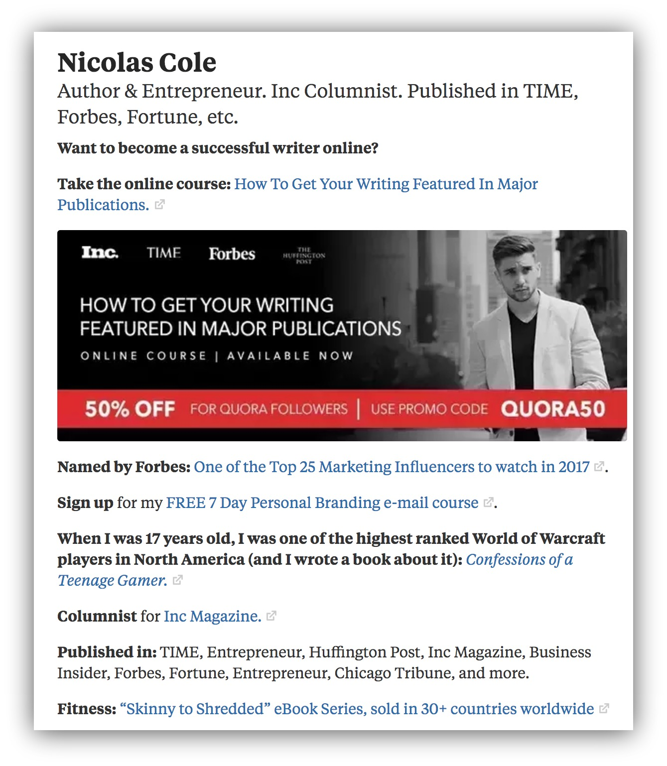 Screenshot of Nicholas Cole