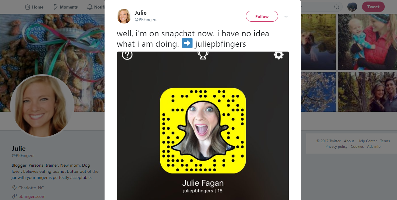Screenshot showing a Twitter post containing a Snapchat add link