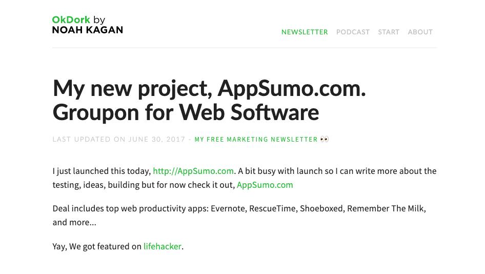 Okdork - Noah shares launching AppSumo