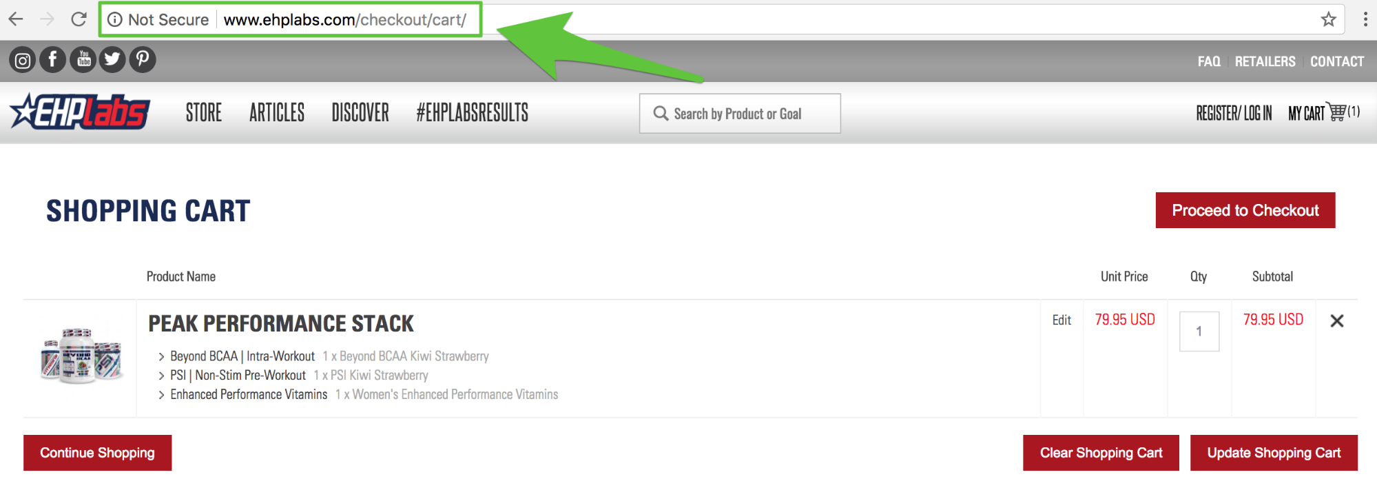 Screenshot showing EHPlabs shopping cart page