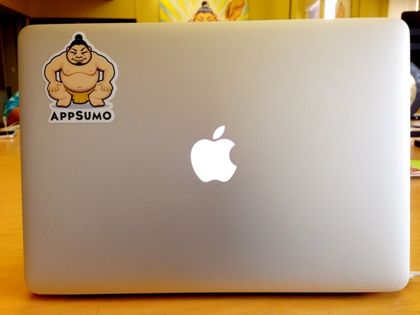 Screenshot showing a Macbook with an AppSumo sticker on it
