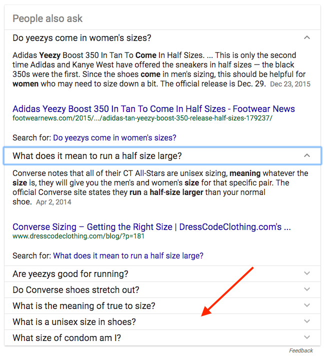 Screenshot showing an answered question on a google search