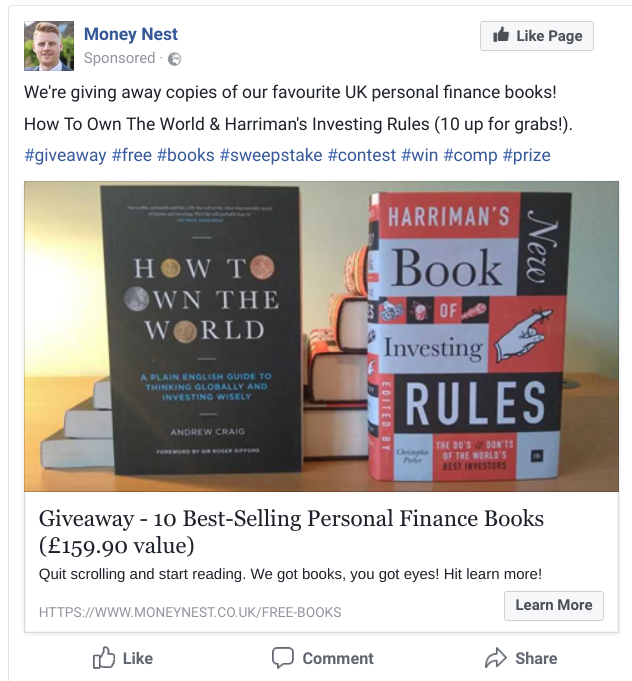 Screenshot showing a facebook post sharing a sweepstakes