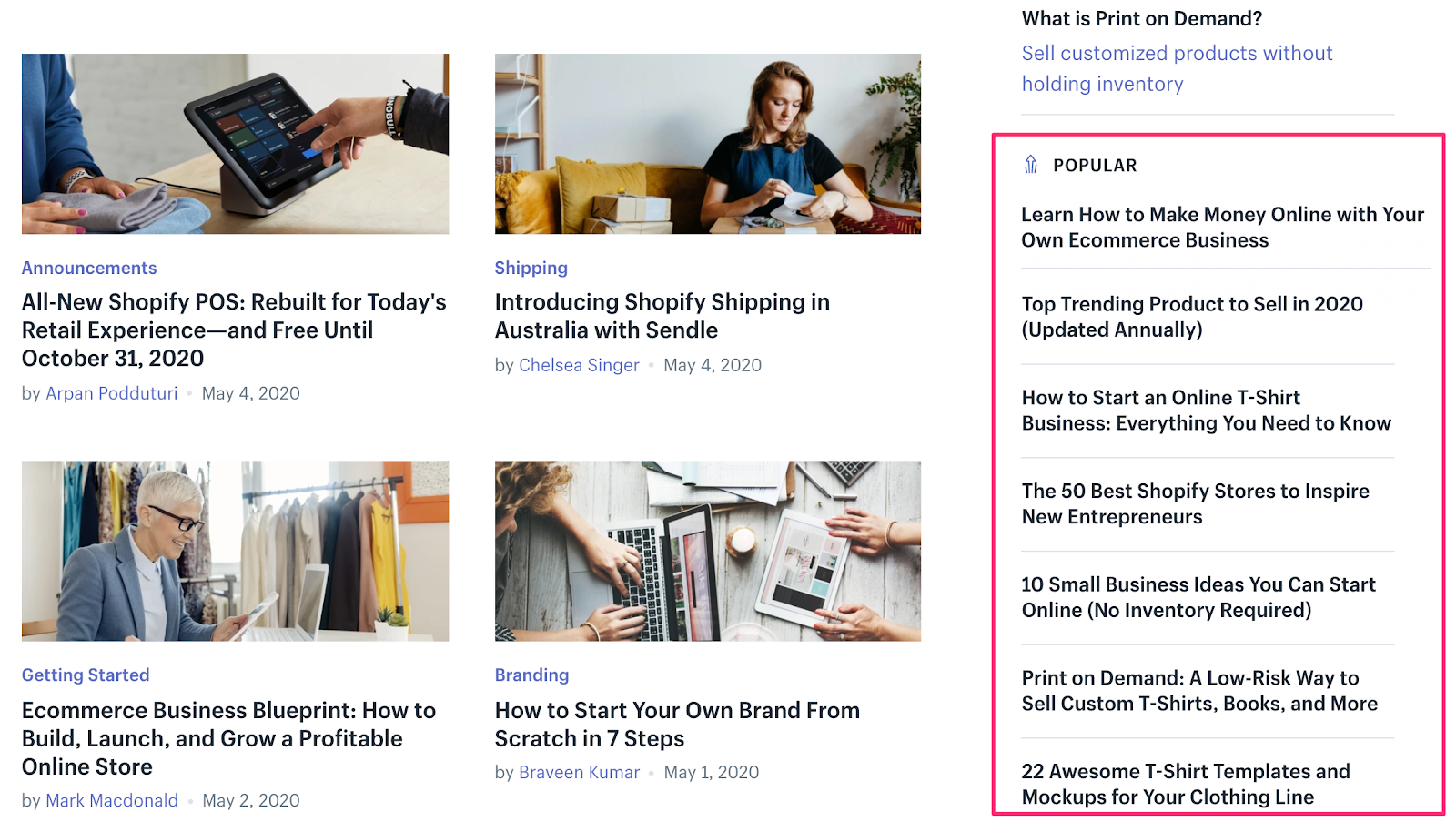 Screenshot of popular posts in a sidebar
