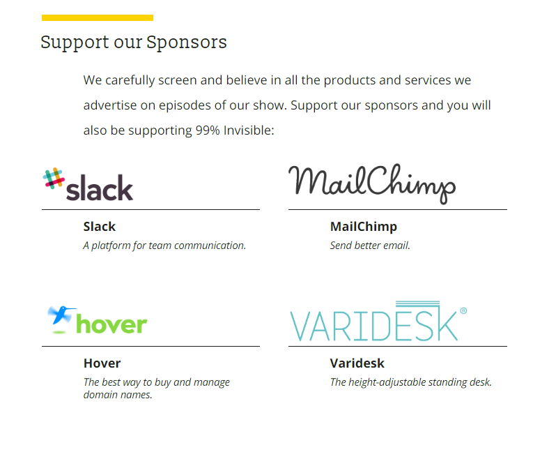 Screenshot showing Slack as a sponsor for a product