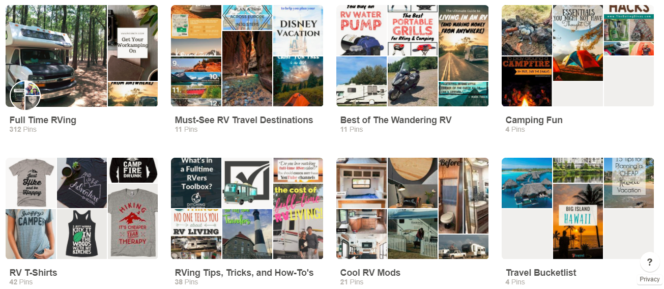 Screenshot showing different pinterest boards