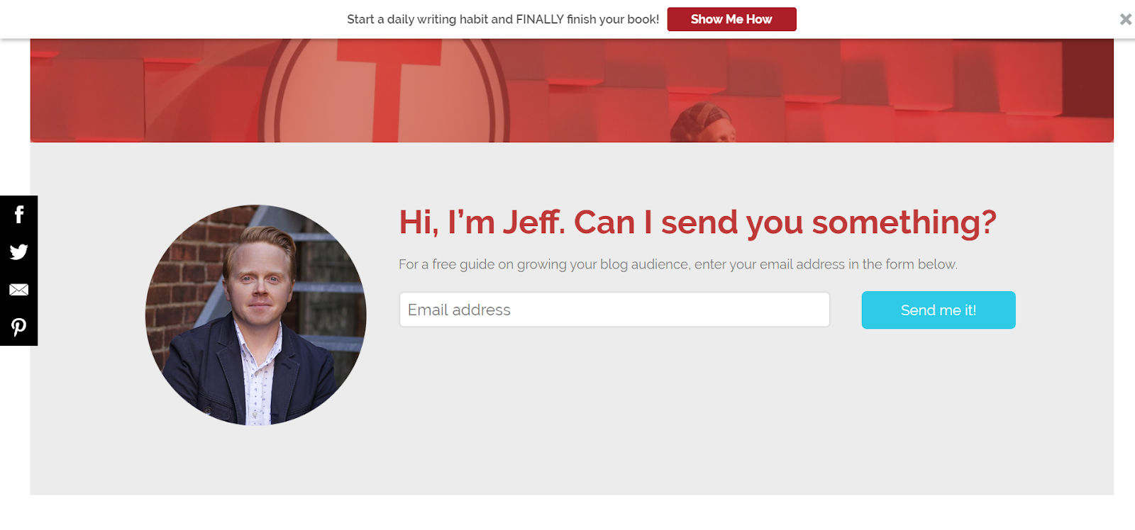 How To Build An Email List: Screenshot of Jeff Goin
