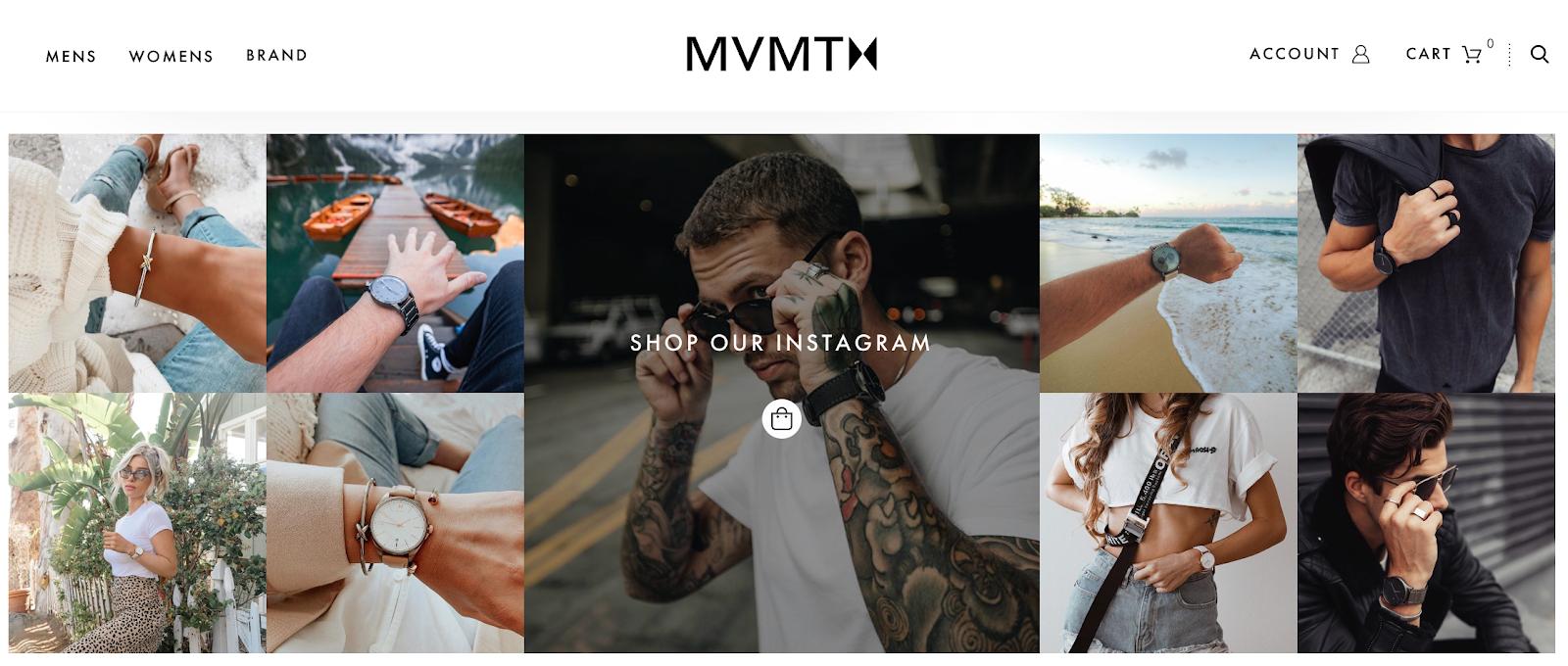Screenshot of MVMT website