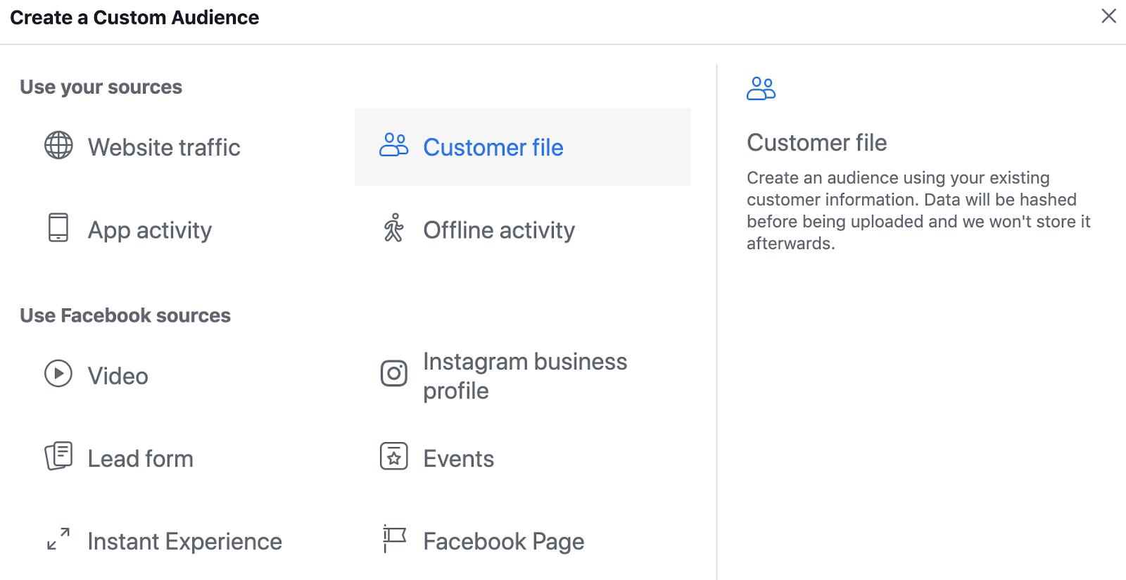 Screenshot of steps to upload email list CSV file on Facebook Ads Manager