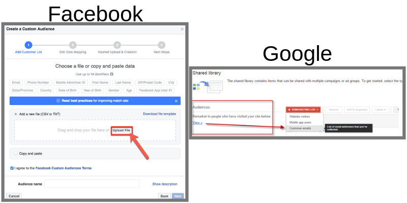 Screenshot of uploading email list to Facebook or Google Ads