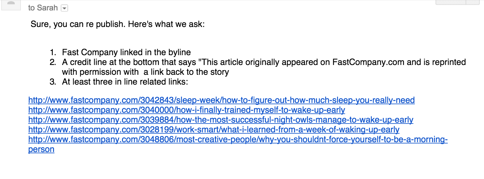 Screenshot showing an email sent by FastCompany about republishing