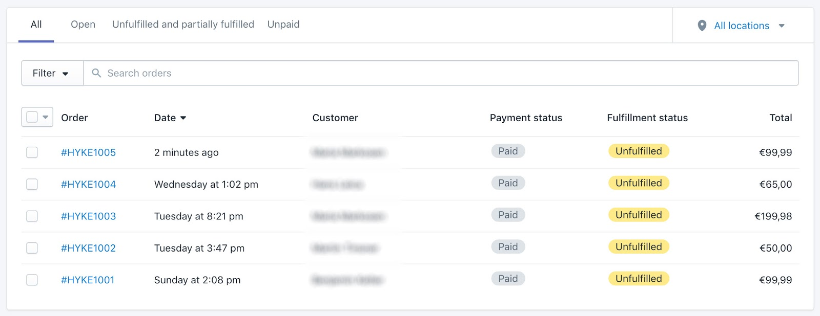 Screenshot showing a list of Shopify sales