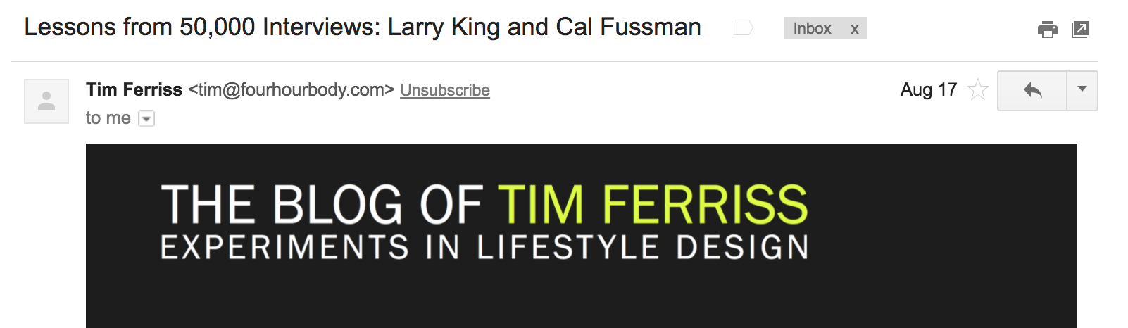 Tim ferriss interesting email subject example