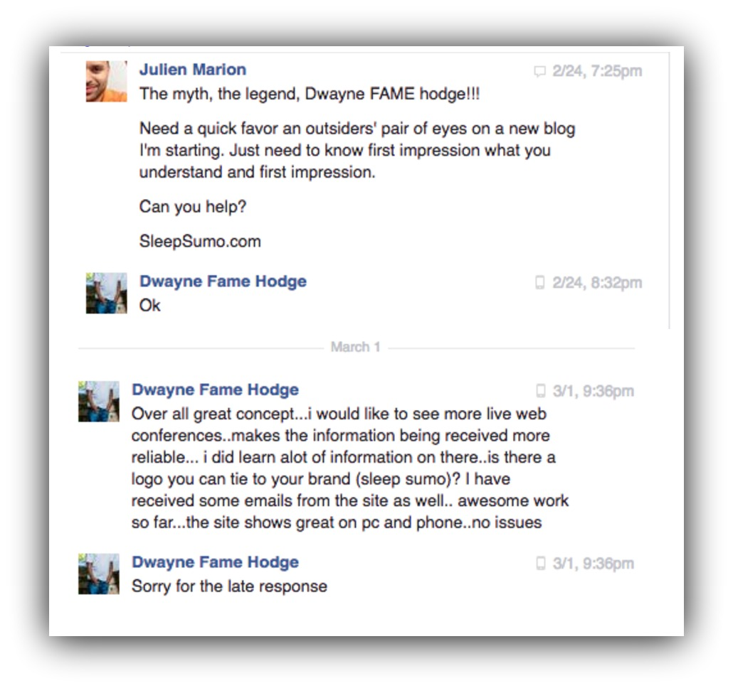 Screenshot showing a Facebook conversation