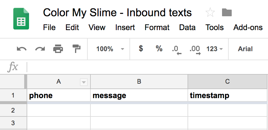 Screenshot showing a google sheets spreadsheet