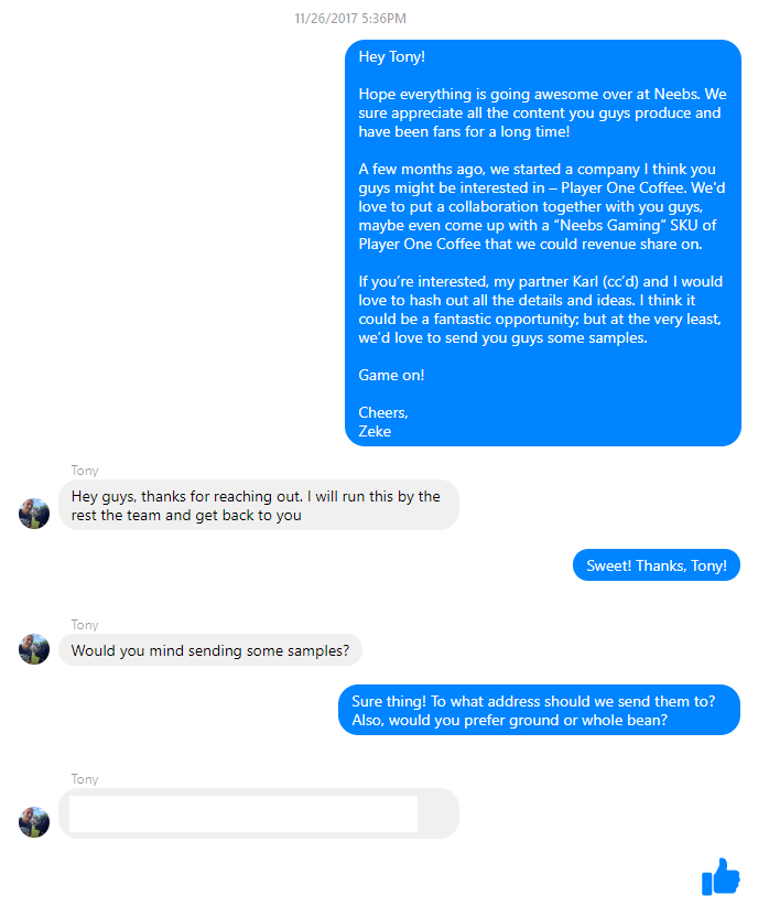 Screenshot showing a facebook messenger conversation