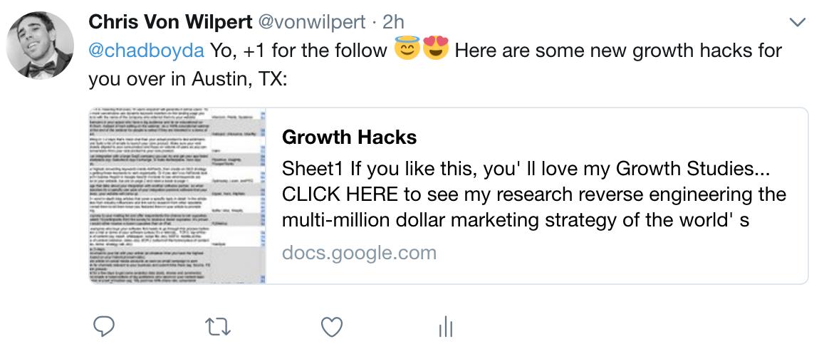 Screenshot of a Twitter post by Chris Von Wilpert