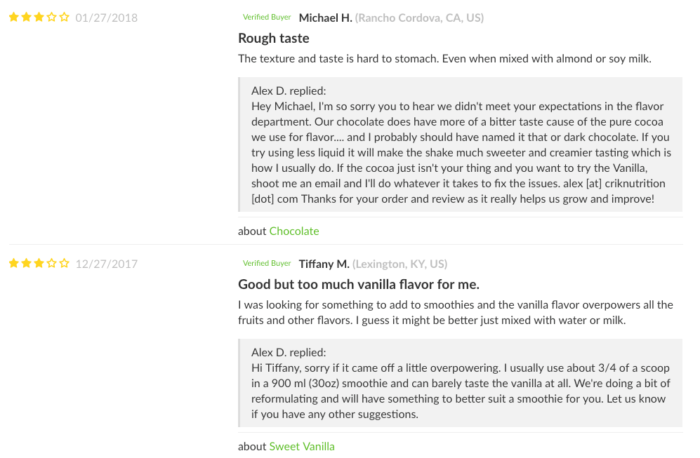 Screenshot showing product reviews