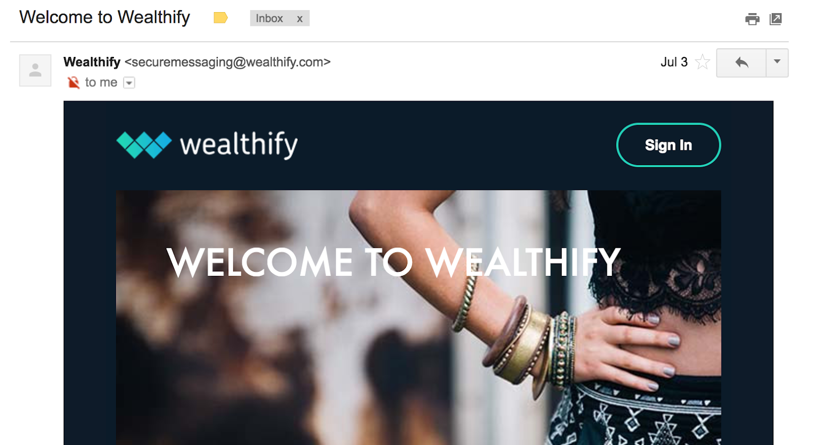 Best Email Subject Lines: Screenshot of Wealthify email