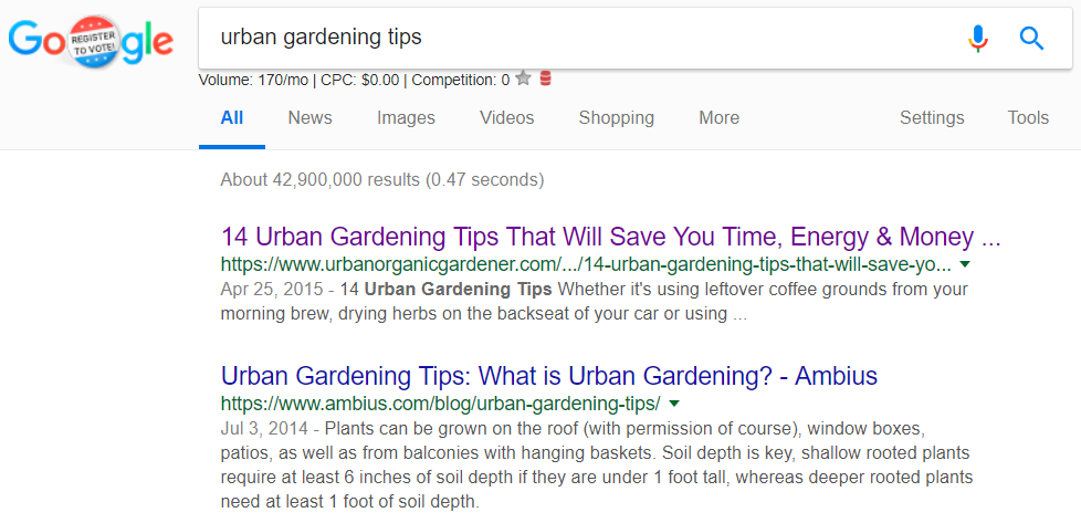 "Screenshot showing search results for ""urban gardening tips"""