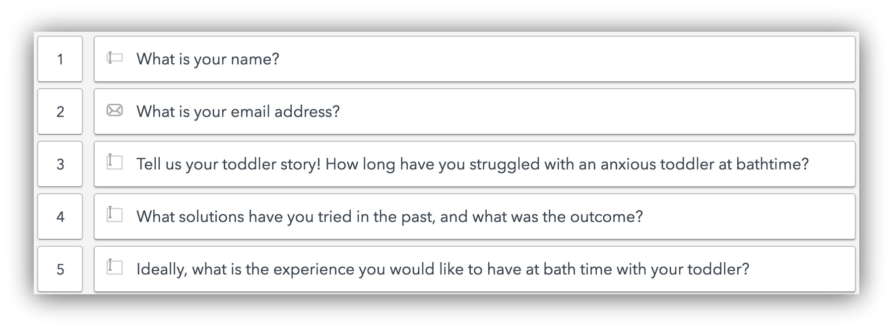 Screenshot showing questions about a consumer
