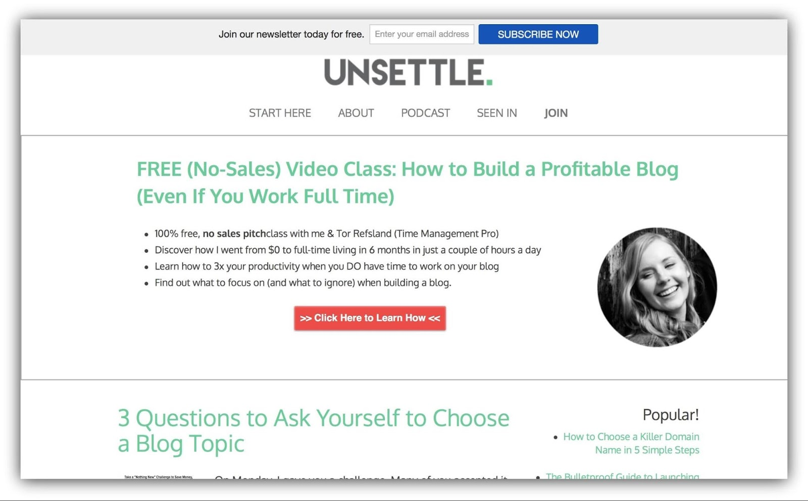 Screenshot showing content on Unsettle