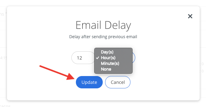 Screenshot of updating delay time in Sumo for emails